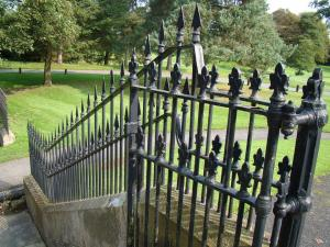 ponted wrought-iron fence